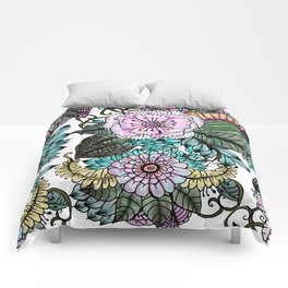 Hand painted pink teal lavender green watercolor floral Comforters