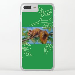 Squirrel on the tree Wildlife Spring scene Clear iPhone Case