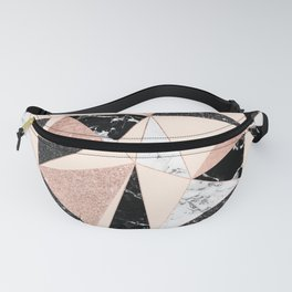 Modern black white marble rose gold glitter foil geometric abstract triangles pattern Fanny Pack