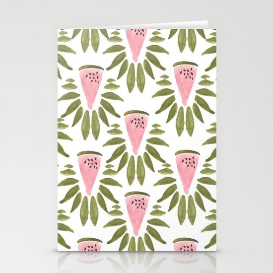 Watermelon and Leaves Stationery Cards
