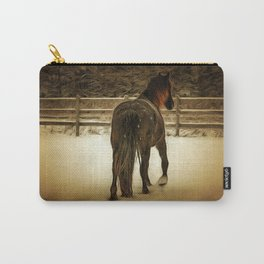 Horse with Fence in Snow in Winter. Golden Age Painting Style. Carry-All Pouch