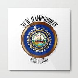 New Hampshire Proud Flag Button Metal Print