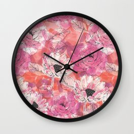 Punky Pink Floral Wall Clock