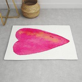 Pink Heart Full Of Love Watercolor Rug