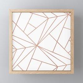 Modern elegant rose gold geometrical stripes Framed Mini Art Print