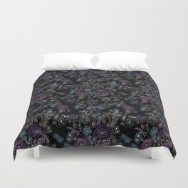 Floral pattern on a black background . Blue and purple flowers . Duvet Cover