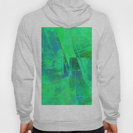 Fading Memories - Abstract green, blue and cyan painting Hoody