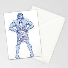 Hercules Holding Bottle With Octopus Inside Drawing Stationery Cards