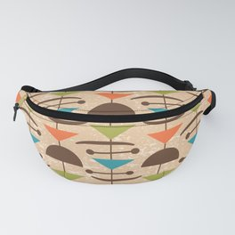 Retro Mid Century Modern Abstract Mobile 642 Brown Turquoise Olive Orange and Beige Fanny Pack