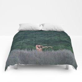 Blurry Greens Comforters