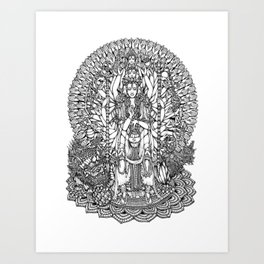Bodhisattva Avalokiteshvara of Compassion Arms and the Imperial Guardian Lion by Kent Chua Art Print