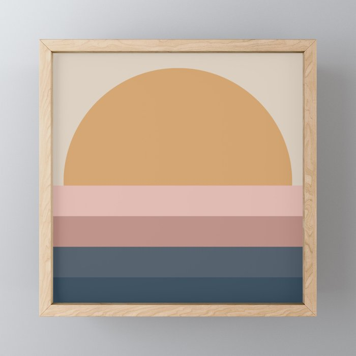 Neutral 70's Minimal Sunset Framed Mini Art Print