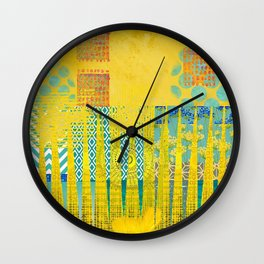 Yellow & Turquoise Abstract Art Collage Wall Clock
