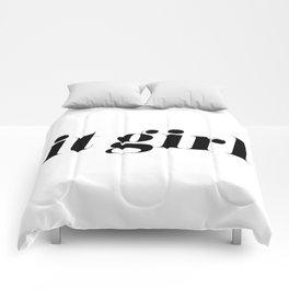 It Girl - Black Typography Comforters