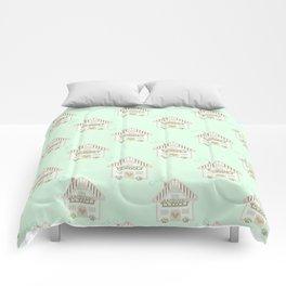 Little cute house cross stitch pattern - green Comforters
