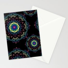 Abstract mandala-pattern on the black background Stationery Cards