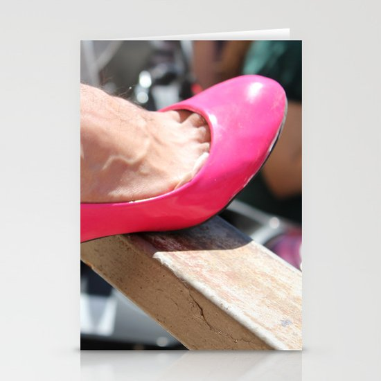 pink shoe Stationery Cards