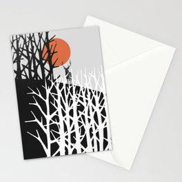 Red sun with deer Stationery Cards