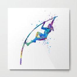 Girl Pole Vault Colorful Watercolor Sports Art Metal Print