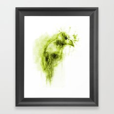 Splatter Bird Green Framed Art Print