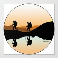 hiking Canvas Prints featuring HIKING by Şemsa Bilge (Semsa Fashion)
