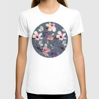 purple T-shirts featuring Butterflies and Hibiscus Flowers - a painted pattern by micklyn