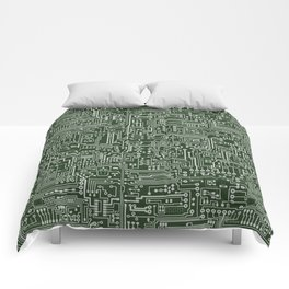 Circuit Board // Green & Silver Comforters
