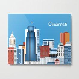 Cincinnati, Ohio - Skyline Illustration by Loose Petals Metal Print