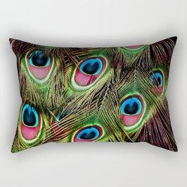 art nouveau bohemian turquoise purple teal green peacock feather Rectangular Pillow