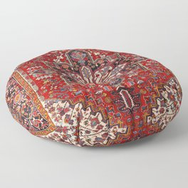 Persia Heriz 19th Century Authentic Colorful Blue Red Cream Vintage Patterns Floor Pillow