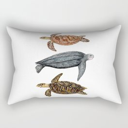 Green, leatherback and hawksbill sea turtles Rectangular Pillow