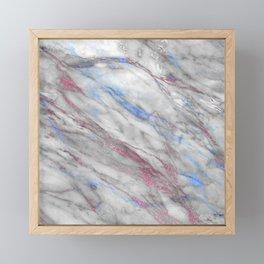Elegant modern faux rose gold blue abstract marble Framed Mini Art Print
