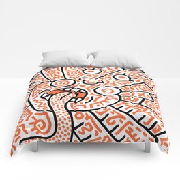 """The Face"" - inspired by Keith Haring v. orange Comforters"