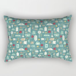 Vintage Kitchen Utensils / Teal Rectangular Pillow