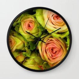 Green & Pink Bouquet Wall Clock