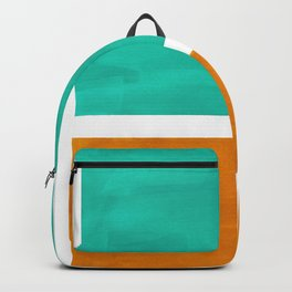 Marine Green Yellow Ochre Mid Century Modern Abstract Minimalist Rothko Color Field Squares Backpack
