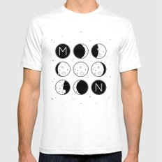 The Moon Phases White Mens Fitted Tee SMALL