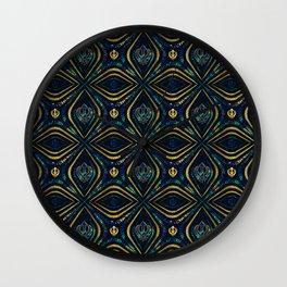 Khanda symbol pattern marble and gold Wall Clock