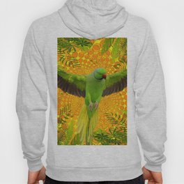 MAGNIFICENT GREEN PARROT GOLD JUNGLE MODERN ART Hoody