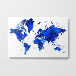 """Navy blue and cobalt blue watercolor world map with cities labelled, """"Carlynn"""" Metal Print"""