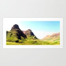 glencoe panorama landscape, scotland. Art Print