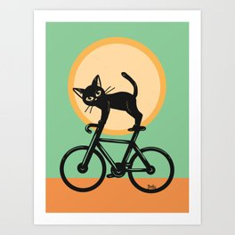 Cat loves a bike Art Print