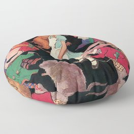 Alice in Wonderland down the Rabbit Hole children's wall decor painting by Jesse Wilcox Smith Floor Pillow