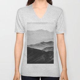 Glimpse - Black and White Mountains Landscape Nature Photography Unisex V-Neck