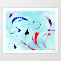 Extreme Aqua Brush Strokes Art Print