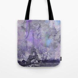 Purple Paris Watercolor Art Tote Bag