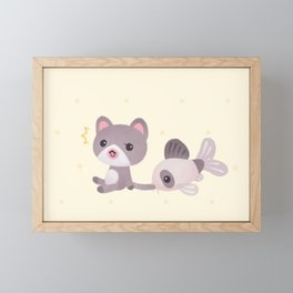 Cat and catfish Framed Mini Art Print