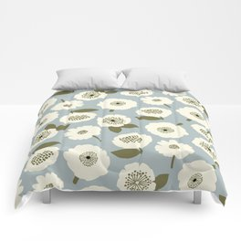 Floating Flowers Grey Comforters