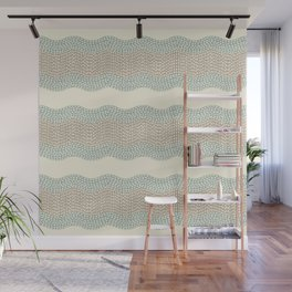 Wavy River I in cream, sage green, tan Wall Mural