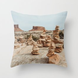 Rock Cairns of Moab Throw Pillow